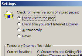 Internet Explorer set to check for a newer version of a page on every visit