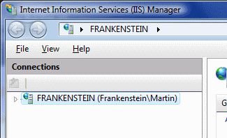 The wrong version of IIS Manager in Windows Vista