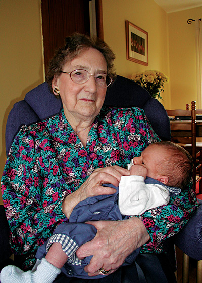 Grandma McLean with Alex, 29 April 2001