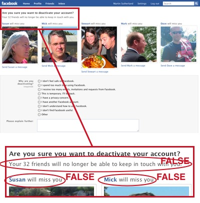 Facebook's disable account page