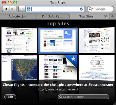 Safari 4's Top Sites feature