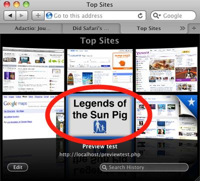 Safari 4 Top Sites with custom preview thumbnail: PROBABLY A BAD IDEA