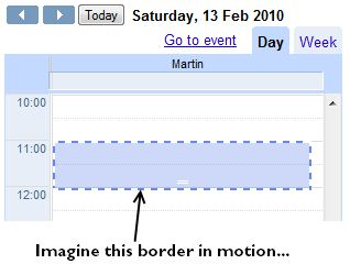 Marching ants effect in Google Calendar.