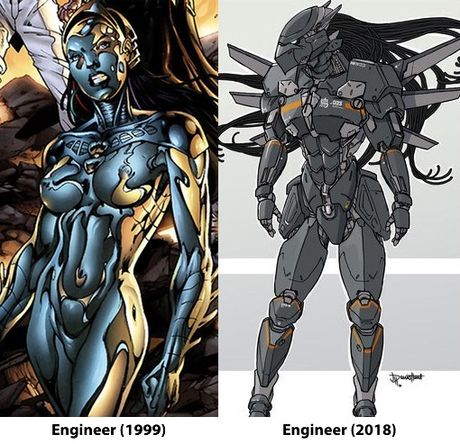 Contrasting images of the Engineer character from 1999 and the same character from 2018