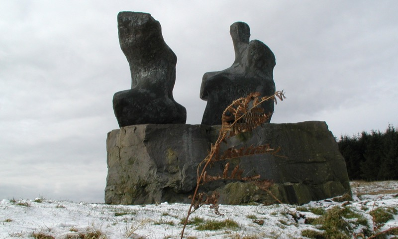 Henry Moore Two Piece Reclining Figure No.1 on the Glenkiln Sculpture Trail in 2001
