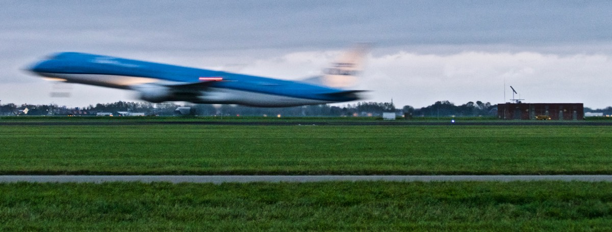 KLM plane taking off from the Polderbaan runway at Schiphol