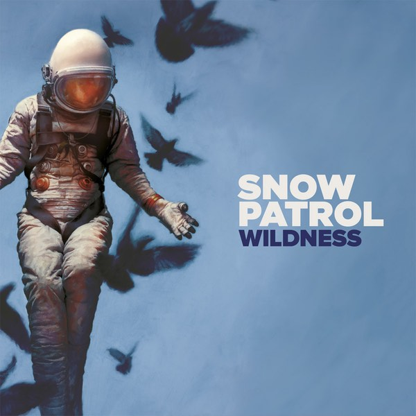 Cover art for Snow Patrol's album Wildness, showing an astronaut on a blue background with birds flying by